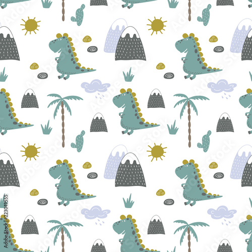 Fototapeta seamless vector background of merry dinosaurs in the nature