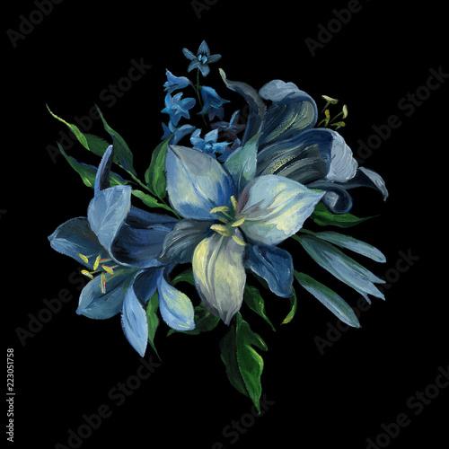 bukiet-blekitni-rozni-kwiaty-i-liscie-na-zmroku-blekitny-tlo-dla-powitania-i-slubnych-kart