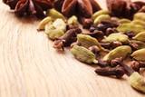 Spices cardamom anise stars and cloves - 223053557