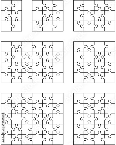 Vector illustration of seven different white puzzles, separate pieces