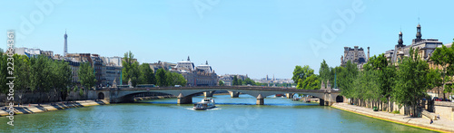 Paris, panoramic summer cityscape. Quay Francois Mitterrand of the river Seine, Carrousel and Royal Bridge, Eiffel Tower - 223064361