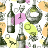 Decorative seamless pattern with wine bottles, wineglasses. Ink hand drawn Vector illustration. Composition of drink elements for menu design. - 223069154