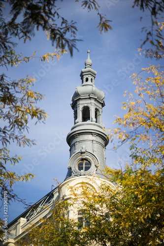 Corner Turret in Vienna and Trees in Autumn