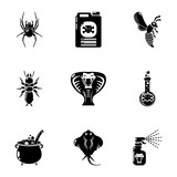 Toxic chemical icons set. Simple set of 9 toxic chemical vector icons for web isolated on white background - 223076191