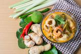 Tom yum thai spice soup, thai food popular - 223081928