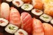 Nigiri And Maki Sushi Serving Close-up