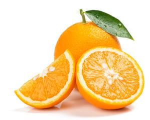 Orange whole, half and slice. Close up.