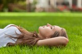 Portrait of a Young Woman Sleeping in a Park
