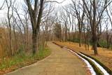 雪の残る山の公園の風景11