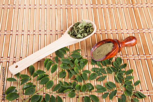 Seeds, leaves and moringa powder - Moringa oleifera