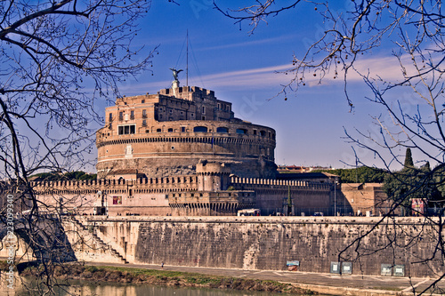 Side View of Castel Sant'Angelo in Rome, Italy - 223099340