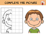 Kid boy's face. Copy the picture. Coloring book. Educational game for children. Cartoon vector illustration - 223100730