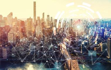 Digital Tech Circle with the New York City skyline near Midtown