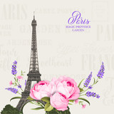 Eiffel tower simbol with spring blooming flowers over gray text pattern with sign Paris souvenir. Vector illustration. - 223110513