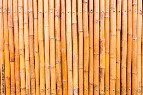 Fototapeta Close up of wall made of vintage bamboo fence