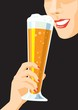 Drinking beer / Woman with a glass of beer. Creative conceptual vector.