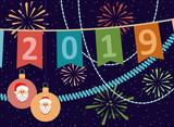 2019. New year or Christmas  postcard. Vector illustration. - 223114566
