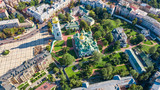 Aerial drone view of St Sophia cathedral and Kiev city skyline from above, Kyiv cityscape, capital of Ukraine  - 223116749