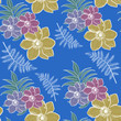 Hand drawn colorful flowers. Floral seamless pattern in modern style. Flower motif illustration design for fashion, fabric and all prints on vivid blue background. - 223119100