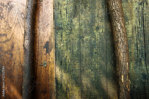 background and texture from wooden boards and sticks