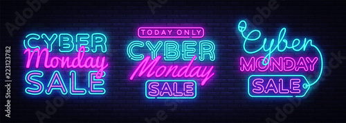 Big collectin neon signs for Cyber Monday. Neon Banner Vector. Cyber Monday neon sign, design template, modern trend design, night light signboard, night bright advertising. Vector illustration