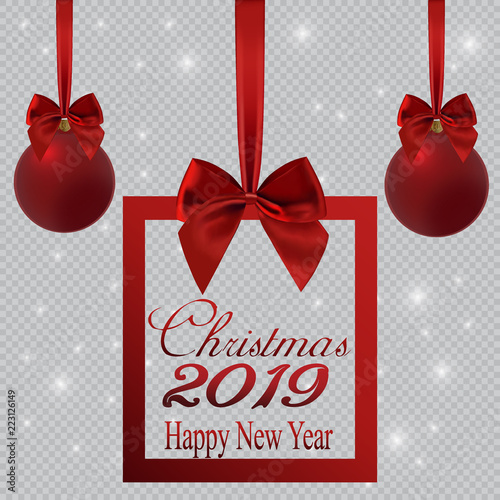 new year banner in the form of a christmas gift and decorations with a red ribbon