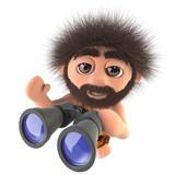 3d Funny cartoon stone age caveman character holding a pair of binoculars - 223126350