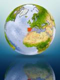 Spain on globe - 223127955