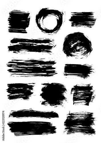 Fototapeta Set of 13 scribble elements isolated on white