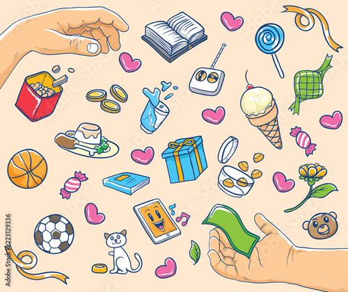hands and mix icon illustration
