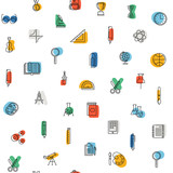 seamless pattern with education icons - 223129523