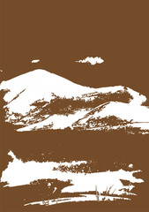 White mountain range with texture on brown. Landscape sketch. Hiking, travel and camping concept. For tourism organisations, outdoor events and mountains leisure. Engraving style. Vector illustration © sshisshka