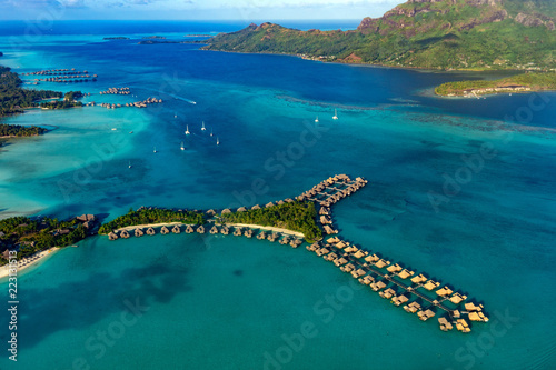 bora bora french polynesia aerial airplane view luxury resort overwater - 223131513