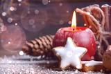 Adventskerze rot - Hygge Stimmung zur Weihnachtszeit