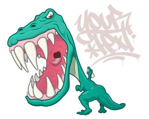 T-Rex dinosaur writing graffiti © Photojope