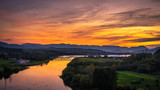 Sunset over a river in Slovakia