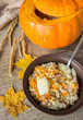 pumpkin soup in a bowl - 223143749