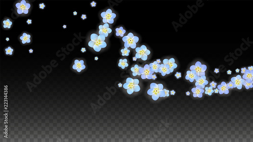 Vector Realistic Blue Flowers Falling on Transparent Background.  Spring Romantic Flowers Illustration. Flying Petals. Sakura Spa Design. Blossom Confetti. Design Elements for Wedding Decoration.