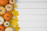 Pumpkins and maple leaves - 223147124