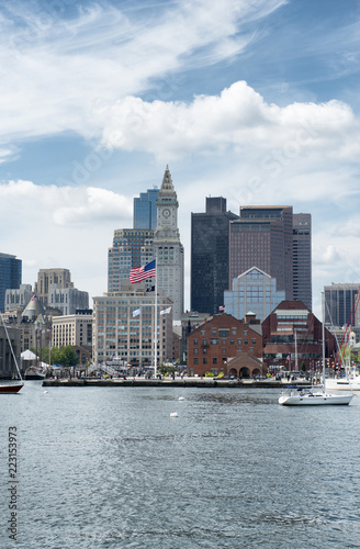 Sailing in front Boston skyline