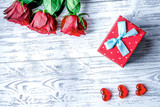 concept Valentine's Day with flower wooden background top view - 223154769