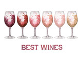 Watercolor glasses of red, rose and white wines isolated on white background - 223158179