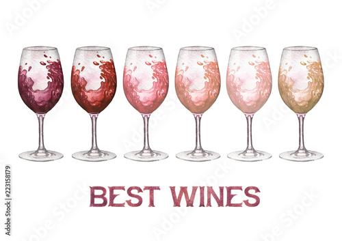 akwareli-szkla-czerwien-rozani-i-biali-wina-odizolowywajacy-na-bialym-tle
