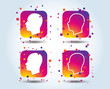 Head icons. Male and female human sign symbols. Colour gradient square buttons. Flat design concept. Vector