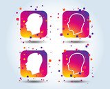 Head icons. Male and female human sign symbols. Colour gradient square buttons. Flat design concept. Vector - 223160969