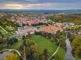 Castle Lednice in Czech Republic - aerial view - 223161105