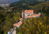 Castle Pernstejn in Czech Republic - aerial view - 223161111