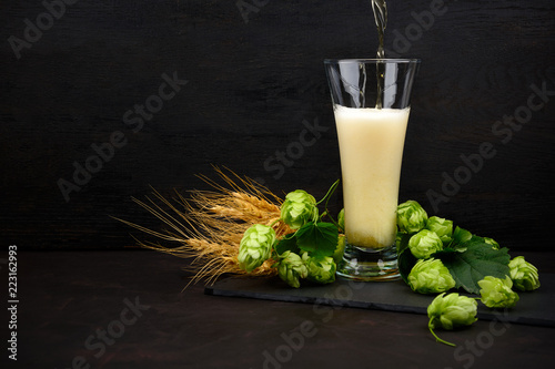 Fototapeta Beer pouring into a glass. Glass of beer with green hops and wheat ears on dark wooden table. Still life