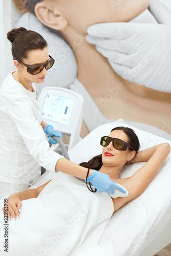 Laser Epilation. Woman On Laser Underarm Hair Removal Procedure