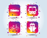 Transport icons. Car, Bicycle, Public bus and Ship signs. Shipping delivery symbol. Family vehicle sign. Colour gradient square buttons. Flat design concept. Vector